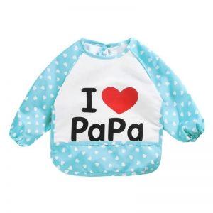 Waterdichte mouwslab I love papa blauw
