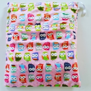 Wetbag dubbele rits uil roze