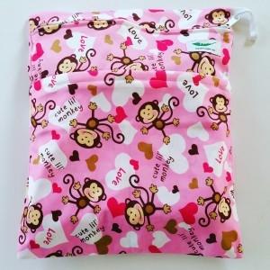 Wetbag dubbele rits aap roze