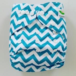 One Size Pocket luier zigzag blauw