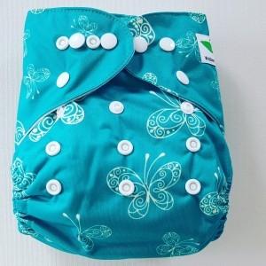 One Size Pocket luier vlinder turquoise