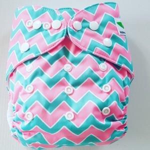 One Size Pocket luier zigzag groen/roze