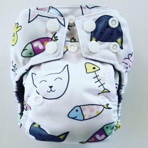 AIO newborn pocket luier poes & vis