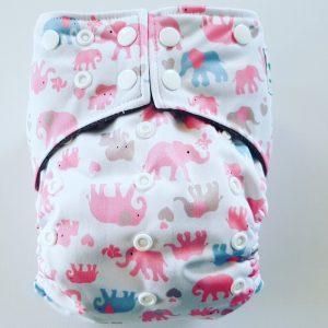 AIO One Size Pocket luier olifant roze